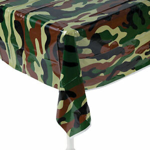 Camouflage Tablecloth Table Cover Birthday Party Military Hunting
