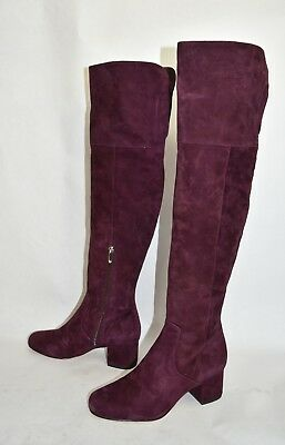 aea58ad6e8bcd5  300 SAM EDELMAN Elina Over the Knee Boot WINE SUEDE BLOCK HEEL CHIC 7.5  (T33
