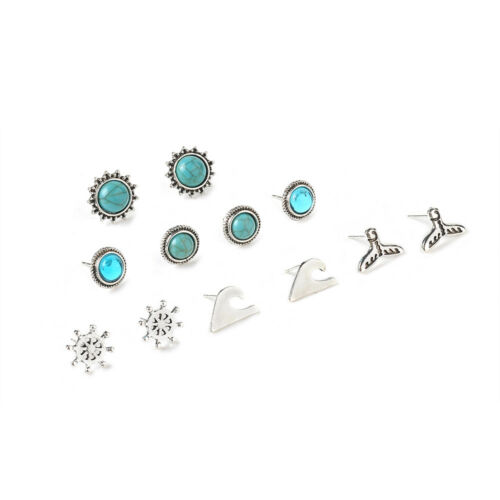 6 Pairs Women Chic Boho Rhinestone Crystal Pearl Earrings Set Jewelry Ear Studs