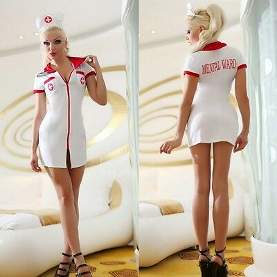 Sexy Woman Halloween Mental Ward Nurse Costume Cosplay Fancy Dress Role Play