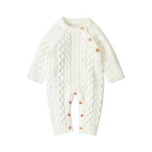UK Newborn Baby Boy Girl Knit Romper Hooded Sweater Jumpsuit Winter Warm Clothes
