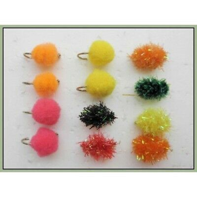 12 Fritz Egg size 10 unweighted Egg Trout Flies Fishing Flies Mixed Colour