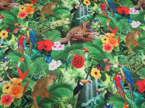 Designer Jungle Zoo Animals DIGITAL Cotton Fabric for Curtain Upholstery Blinds