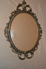 "17"" Vintage Ornate Antique Brass Metal Wall 9 x 12 Frame Bubble-Convex Glass"