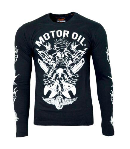 Men/'s Biker T Shirt Skull Motor Oil Printed Design 100/% Cotton Long Sleeve Top