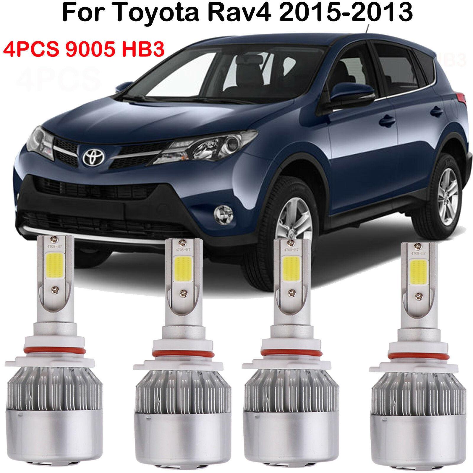 4pcs Led Headlight Bulbs 9005 Hb3 Kits For Toyota Rav4 2015 2013 2001 Kit High Low Beam