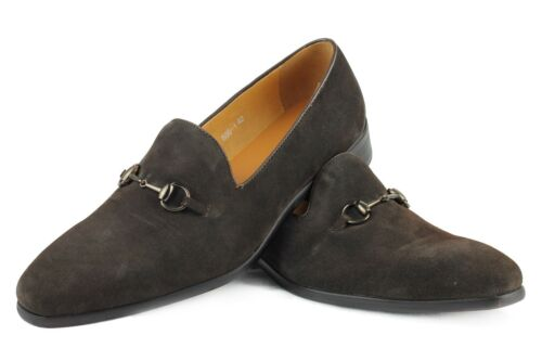 Mens Real Leather Suede Brown Horsebit Buckle Vintage Heeled Loafers Shoes