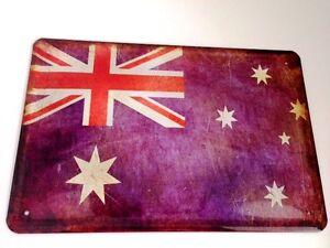 Australia-Bandera-Bandera-Letrero-Letrero-de-Metal-Cartel-de-Lata-20-X-30Cm