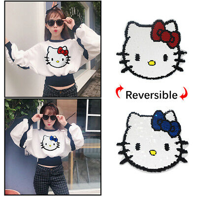 Hello Kitty Reversible Sequin Patch Blue to Red Glitter Sew on Applique Cloths