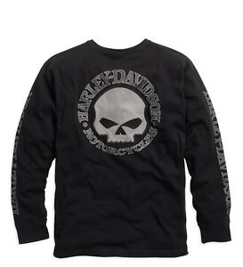 Harley-Davidson Men's Skull Long Sleeve Tee Black Gr. XXL - Herren Shirt Schwarz