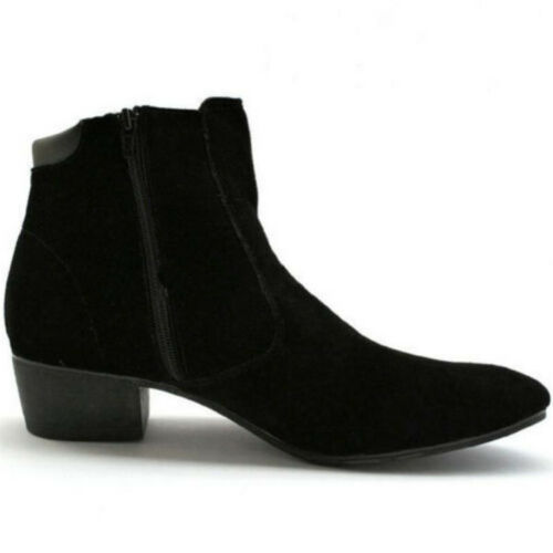 Men/'s Casual Cuban British High Top Heel Zip Suede Point Toe Shoes Ankle Boots