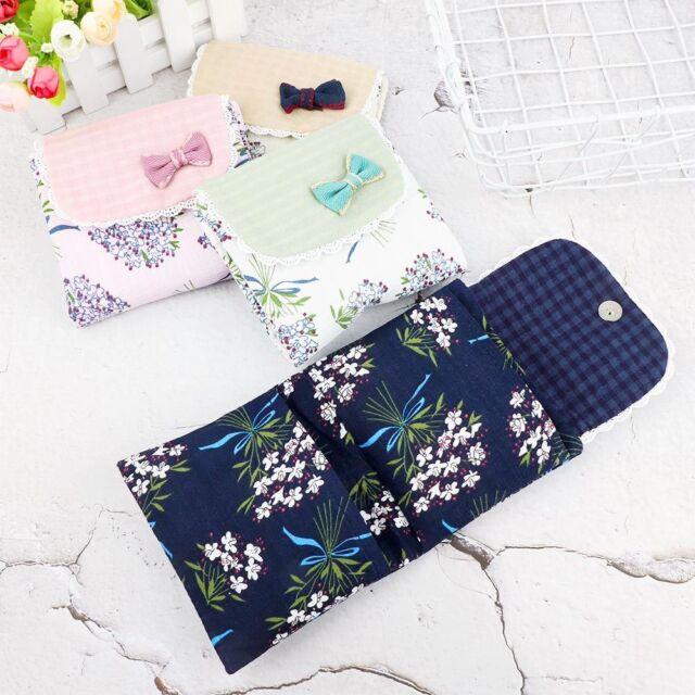 Delicate Flower Pattern Sanitary Towel Napkin Pad Purse Holder Case For Girl