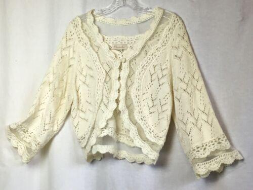 Mainbocher Women's Cardigan Ivory Knit Size M