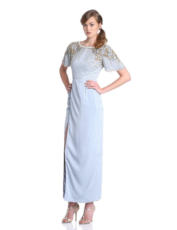 Virgos Lounge Olivia Adornado Hombro Vestido Largo Acero blue