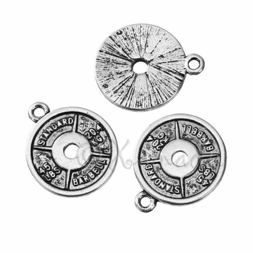 20PCs 10 Workout Barbell 21mm Antiqued Silver Plated Workout Charms C8510-5