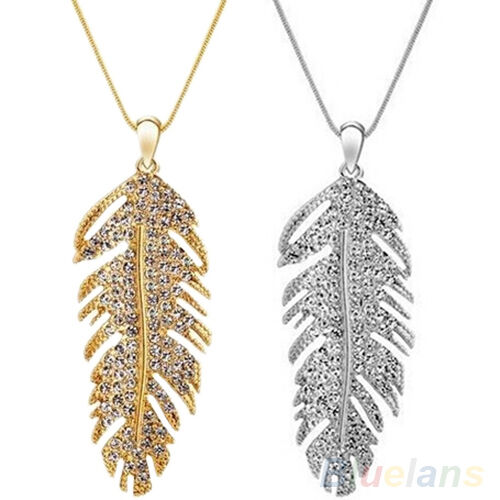 Women's Delicate Bohemian Alloy Rhinestone Feather Pendant Link Chain Necklace