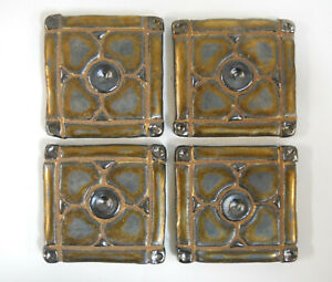 DOGWOOD MOSAIC TILES Handmade Ceramic Grouted Craft Tiles Metallic Old Gold 4pcs