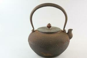 ANTIQUE-EARLY-20th-Century-JAPANESE-CAST-IRON-BLACK-TEAPOT