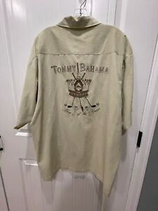 Men's Tommy Bahama Embroidered Golf King Of The Green Silk Khaki Button Shirt XL