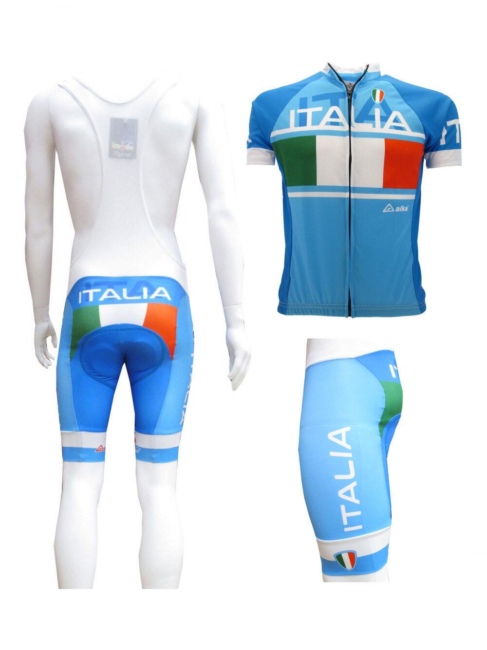 Calzoni Maglia Ciclismo Italia bicicletta Divisa Azzurra Salopette abbigliamento bicicletta Italia 4eaab8