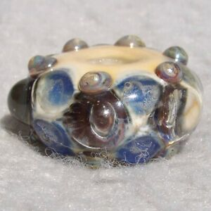 GNARLY-6-Handmade-Large-Hole-Glass-Bead-Flaming-Fools-Lampwork-Art-Glass-SRA