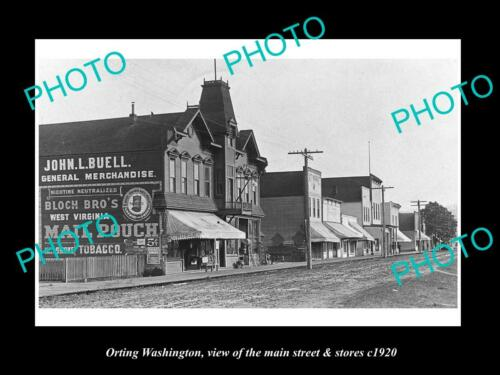 OLD 6 X 4 HISTORIC PHOTO OF ORTING WASHINGTON, THE MAIN St & STORES c1920