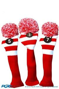 Tour-3-5-7-Fairway-Metal-Wood-Red-White-Golf-Headcover-Knit-Pom-Pom-Cover