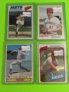 🔥1977-80🔥NEW YORK METS HOF TOM SEAVER 🔥VINTAGE Topps Baseball Card Set LOT X4