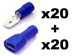 40x Bleu Entièrement Isolé Pelle électrique Pince Connecteurs- Mixte Excellente Qualité