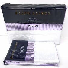 RALPH LAUREN Great Compton QUEEN FLAT SHEET & PILLOWCASES White Purple FAIRVIEW