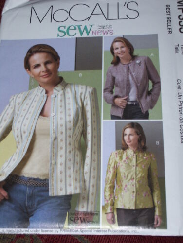 McCALL/'S #MP333-LADIES 2 STYLE STAND UP COLLAR LINED JACKET PATTERN 14-20 FF