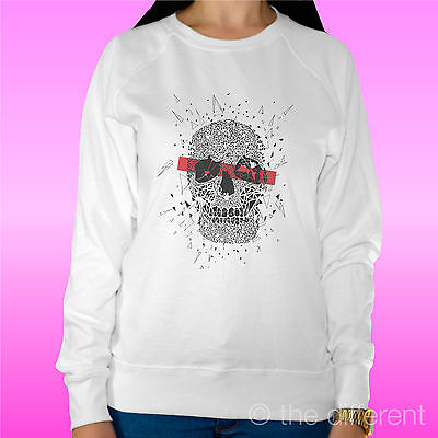"Franco Felpa Donna Leggera Sweater Bianco "" Skull Art Teschio "" Road To Happiness"