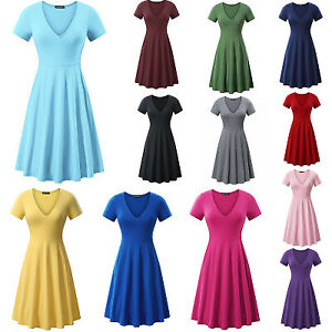 Summer Women's Cap Sleeve V Neck Slim Fit Casual Party Flare A-Line Swing Dress
