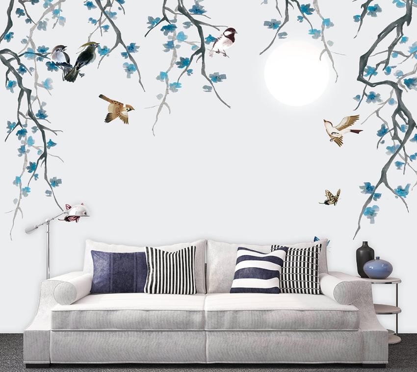 3D Moon Flowers Bird 8 Wall Paper Murals Wall Print Wall Wallpaper Mural AU Kyra