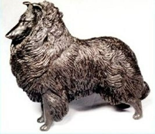 COLLIE ( ROUGH COAT)  COLD-CAST BRONZE FIGURINE  6  LONG  63-046