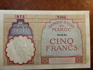Billet de banque, Maroc, type 1922, époque 14 novembre 1941. Comme neuf.