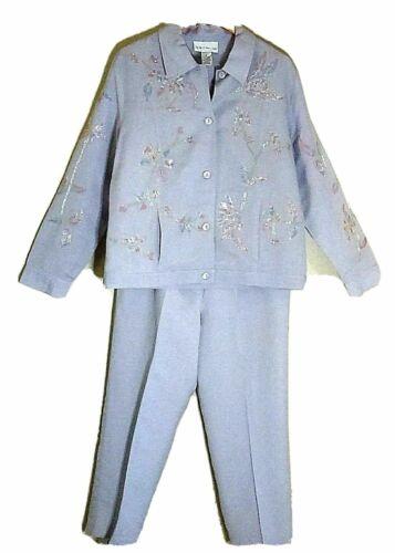 Susan Graver 2pc pant suit linen blend Medium purp