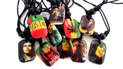 New 20pcs Lot mixte Bob Marley Rasta Reggae Résine Pendentif Corde Chaîne Colliers