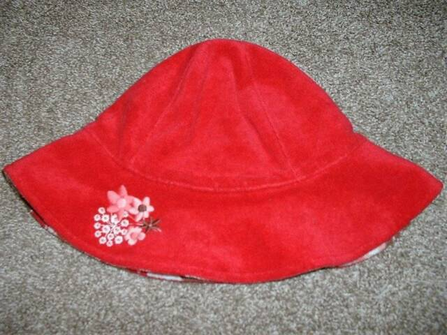 Janie and & Jack Toddler Girls Beachside Villa Hat Red Floral Terry Size 2T 3T