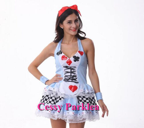 Checkered Alice Girl Dress Alice in Wonderland Disney Character Costume 6-18 AU