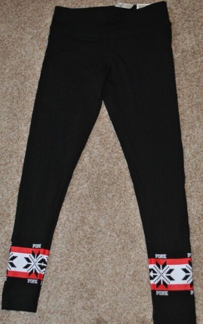 afd4f69a80e86 VICTORIA SECRET PINK NATION Yoga Cotton Leggings Pants XS S M Black  Snowflakes