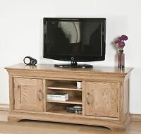 French Solid Oak Furniture Large Widescreen Tv Dvd Cabinet Stand Unit