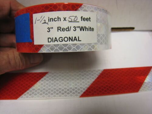 "RED SILVER Reflective Diagonal Stripe  Conspicuity Tape 1-1//2/"" x 50/'"