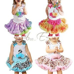 2pcs Baby Girls Top + Tutu Dress Skirt Pettiskirt Party Birthday Costume Outfits