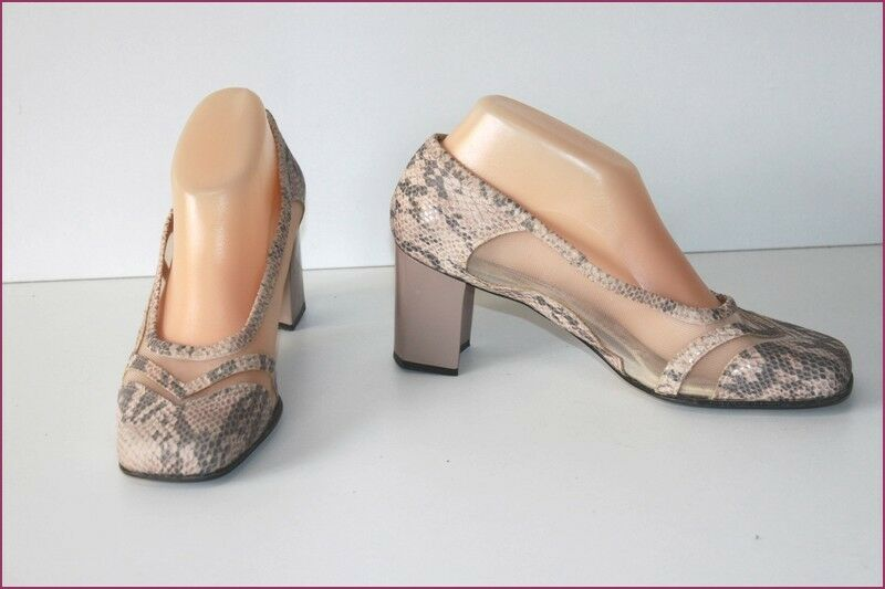 BALLET FLAT OF PROVENCE Court shoes Leather and Veil Tulle netting Cream T 39