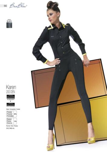 KAREN Treggings Leggings Pantacollant Neri 200 DENARI con Inserti in Ecopelle