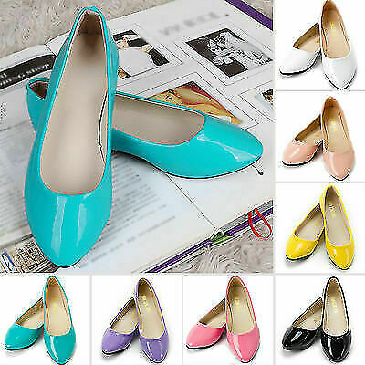 Women Ladies Casual Autumn Ballet Flat Slip On Boat Loafers Ballerina Shoes New