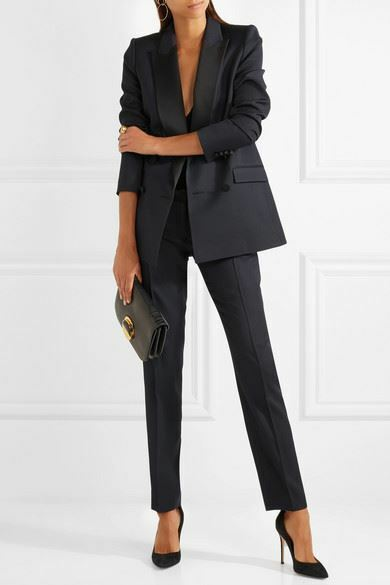 PALLAS AURORE SATIN-TRIMMED WOOL SLIM-LEG PANTS FR 38