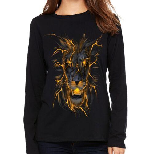 Velocitee Ladies Long Sleeve T-Shirt Electric Evil Lion Face A22303