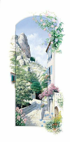 Peter Motz  Malcesine Keilrahmen-Bild Leinwand Garda-See Tessin Italien